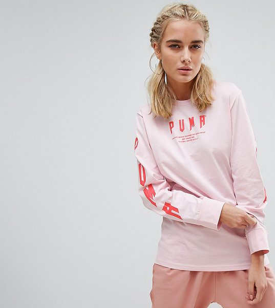 PUMA Exclusive To ASOS Oversized Long Sleeve T-Shirt In Pink - T-shirt by PUMA, Soft-touch cotton jersey, Crew neck,...