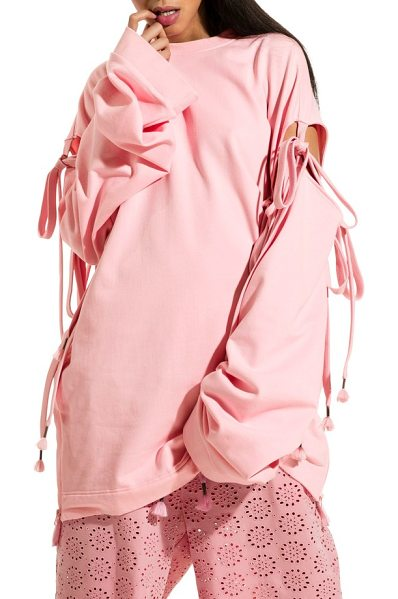 PUMA fenty  by rihanna oversize convertible sleeve sweatshirt in crystal rose - Chunky shoelace ties add edgy styling versatility to the...