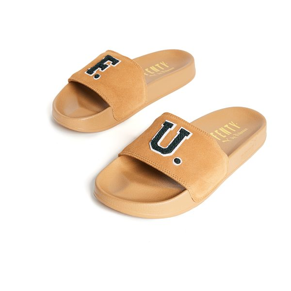 PUMA fenty x  f.u. leadcat slides - Terry letters detail the suede uppers of these slides...
