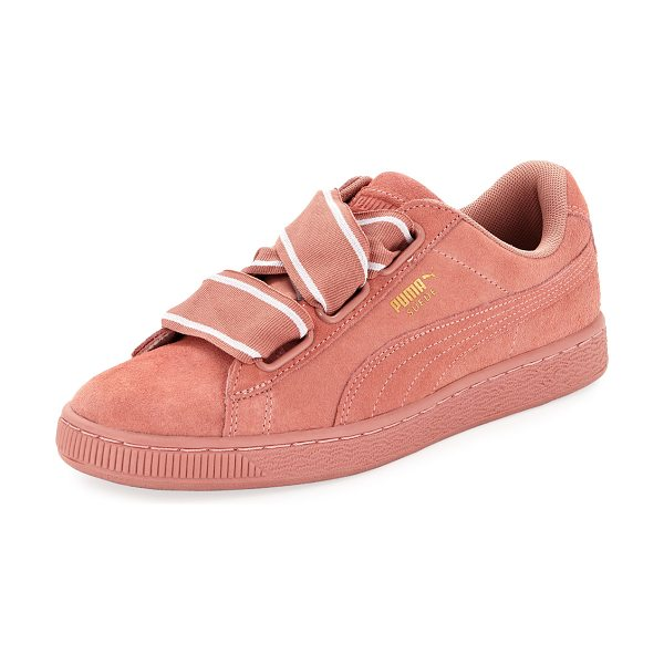 PUMA Heart Suede Satin II Sneaker in cameo brown - Puma suede sneaker with signature Formstrip at sides....