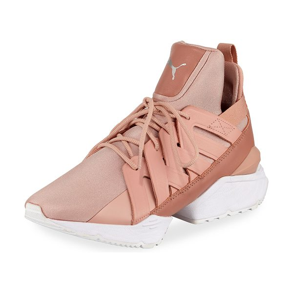 PUMA Muse Echo Satin Sneakers in peach beige/white - Puma satin sneaker with leather trim. Flat heel with...
