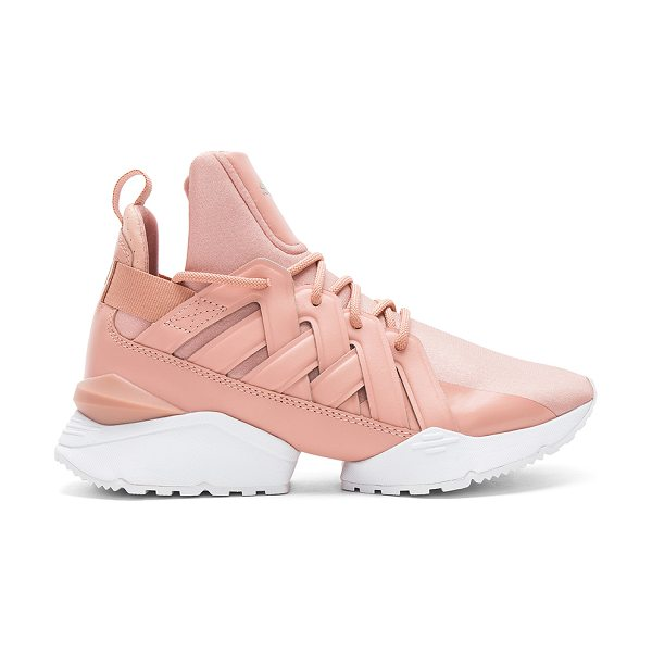 PUMA Muse Echo Satin Sneaker in pink - Textile and leather upper with rubber sole. Lace-up...