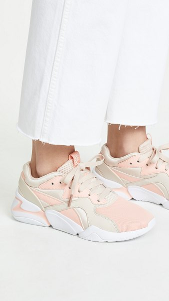 PUMA nova girl power sneakers in peach bud/pearl blush - Fabric: Soft mesh Chunky silhouette Leather trim...