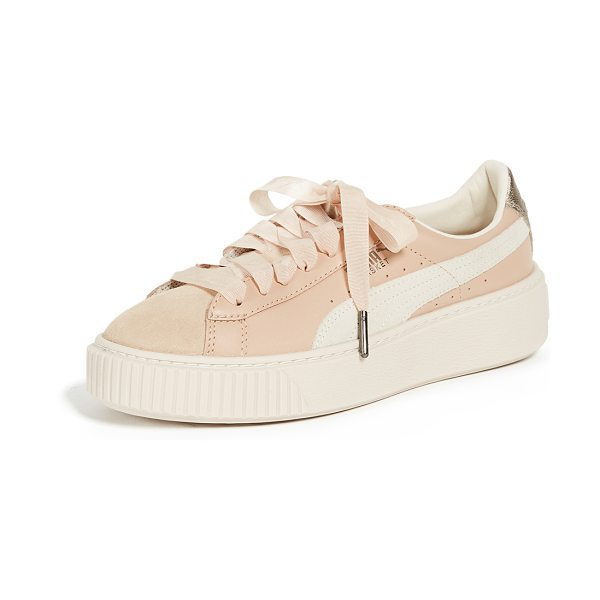 PUMA platform up sneakers in natural vachetta/birch - Leather: Cowhide Grosgrain ribbon laces Suede tongue,...