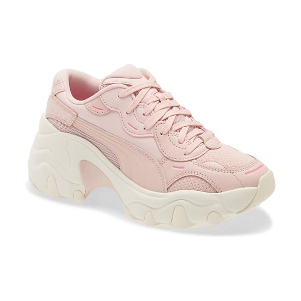 PUMA pulsar wedge tech tonal sneaker in pink