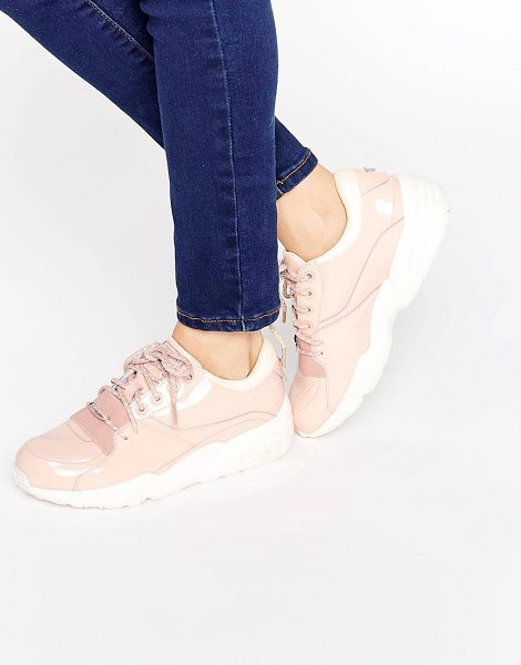PUMA R698 Sneakers in pink - Sneakers by Puma, Faux patent leather upper, Lace-up...