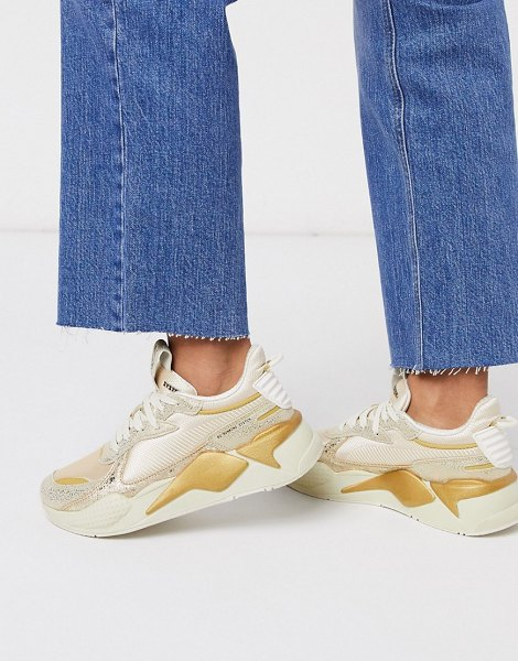 PUMA rs-x winter glimmer sneakers in gold in gold