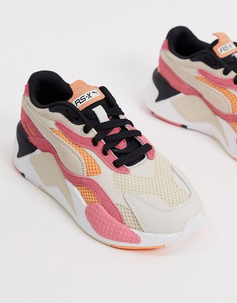 PUMA rs-x3 mesh pop sneakers in pink and cream in pink
