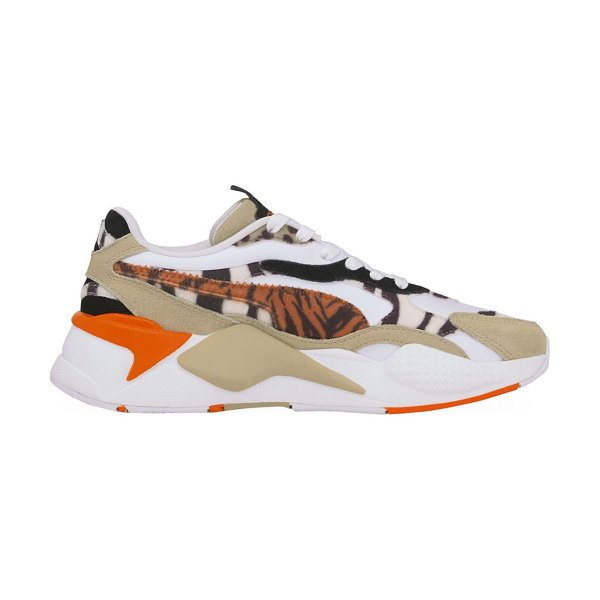 PUMA rs-x³ wildcats animal-print pony hair & suede sneakers in beige white