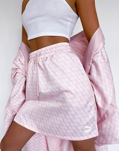 PUMA satin skirt in pink with side splits in pink