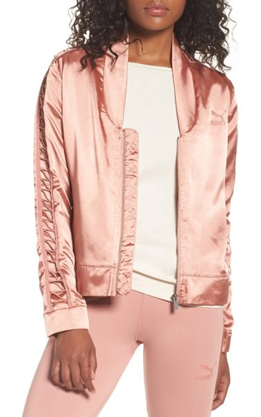 PUMA satin track jacket in cameo brown - A feminine satin track jacket gets a sporty refresh with...