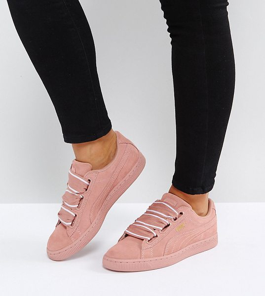PUMA Suede Basket Heart Sneakers In Pink in pink - Sneakers by PUMA, Suede upper, Ribbon ties, Branded...