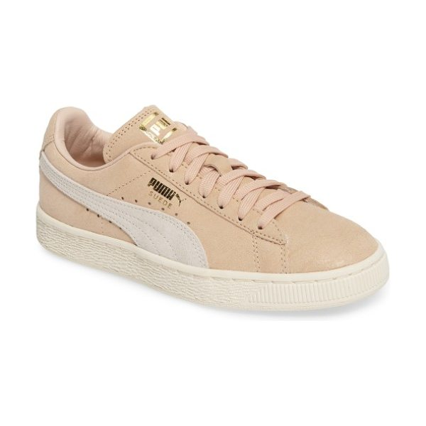 PUMA suede classic shine sneaker in natural/ whisper white/ gold - A subtle allover sheen and shiny logo embossing amp up...