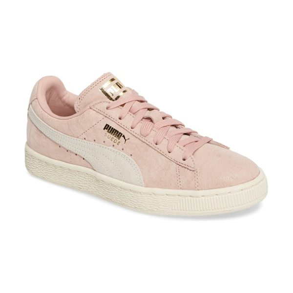 PUMA suede classic shine sneaker in coral cloud/ white/ gold - A subtle allover sheen and shiny logo embossing amp up...