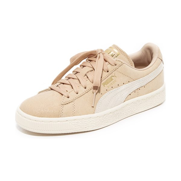 PUMA suede classic shine sneakers in coral cloud/whisper white - Classic suede PUMA sneakers will metallic logo accents...