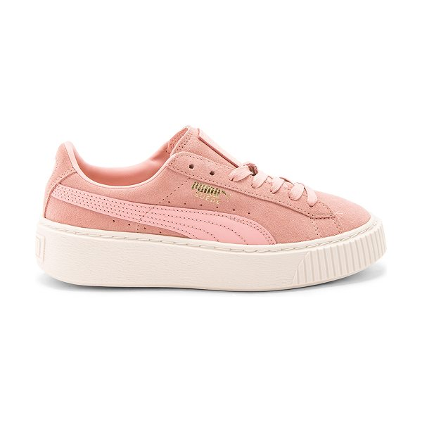 PUMA Suede Core Platform in blush - Suede upper with rubber sole. Lace-up front. Platform...