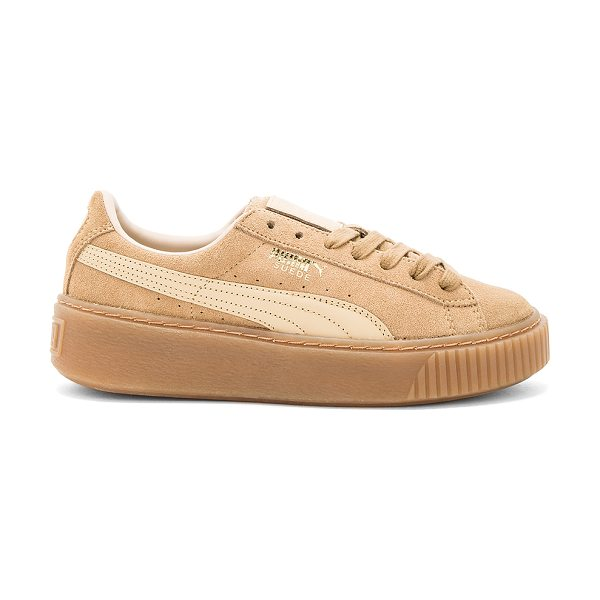 PUMA Suede Core Platform in oatmeal whisper white - Suede upper with rubber sole. Lace-up front. Leather...