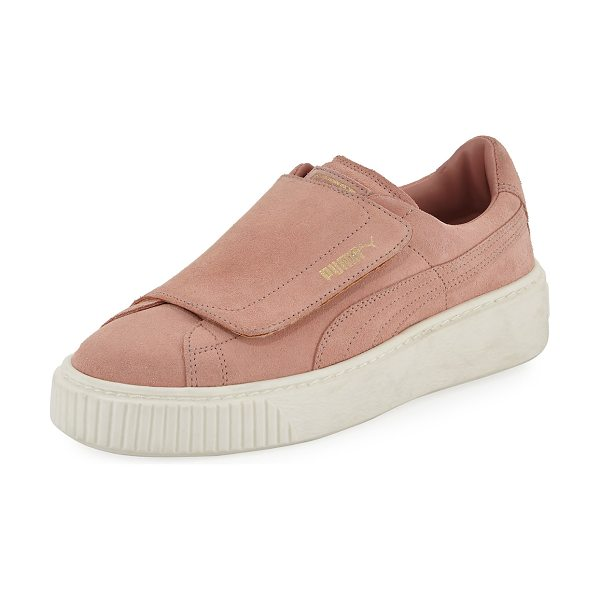 PUMA Suede Grip-Strap Platform Sneakers in blush - Puma suede sneaker with signature formstrip at sides....