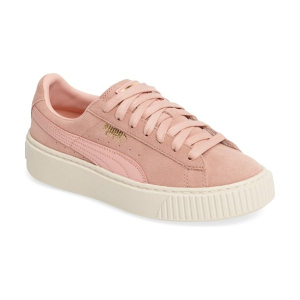 PUMA suede platform core sneaker in coral cloud/ whisper white - A classic sneaker is transformed into an off-duty...