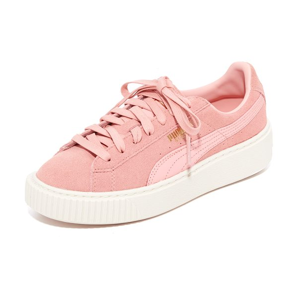 PUMA suede platform core sneakers in rose red - Suede PUMA sneakers with a logo accent and metallic...