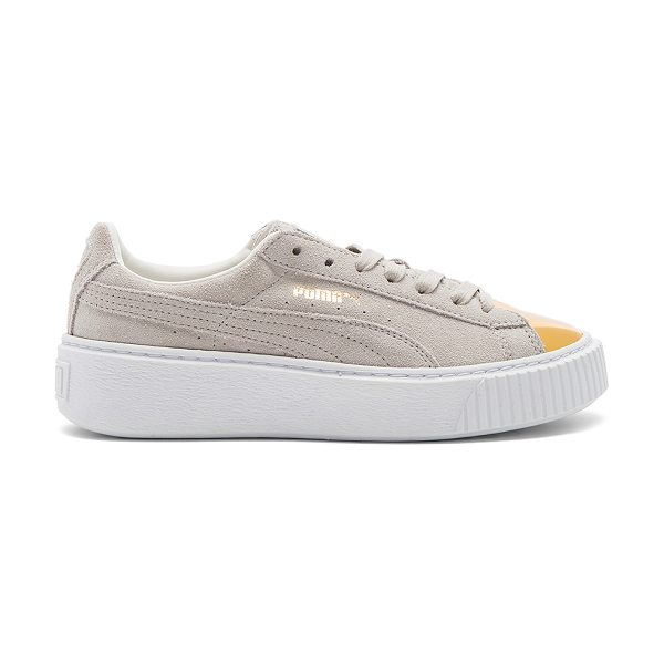 PUMA Suede Platform Sneaker in gold & star white - Suede upper with rubber sole. Lace-up front. Metallic...