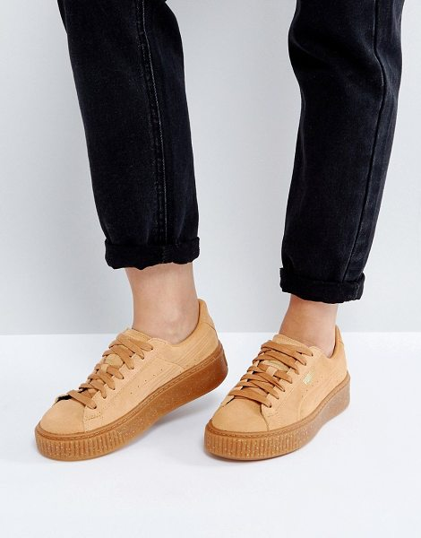 PUMA Suede Platform Speckled Sneakers in tan - Sneakers by PUMA, Suede upper, Lace-up fastening,...