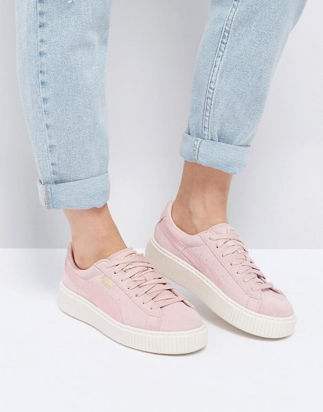 PUMA Suede Satin Platform Sneakers in Pink in pink - Sneakers by PUMA, Leather upper, Lace-up design, Branded...