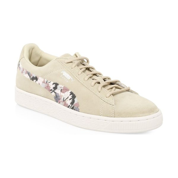 PUMA suede sunfade sneakers in peach beige - Suede low-top sneakers with embroidered floral details...