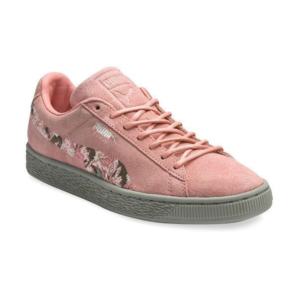 PUMA suede sunfade sneakers in pink - Suede low-top sneakers with embroidered floral details...