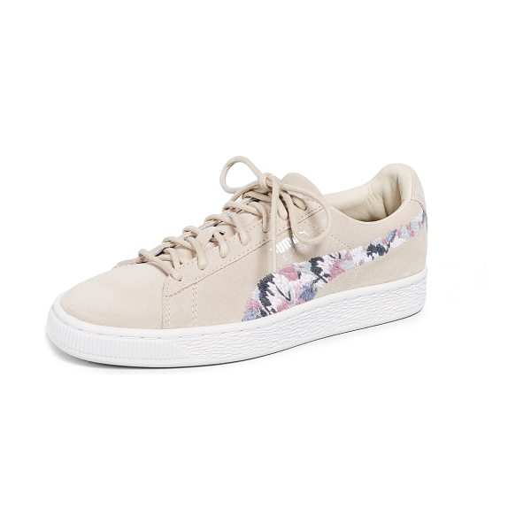 PUMA suede sunfade stitch sneakers in peach beige/marshmallow - Leather: Cowhide Suede Colorful embroidered side stripes...