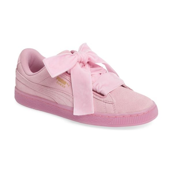 PUMA suede in light pink - Ribbon laces provide a pretty finishing touch for a...
