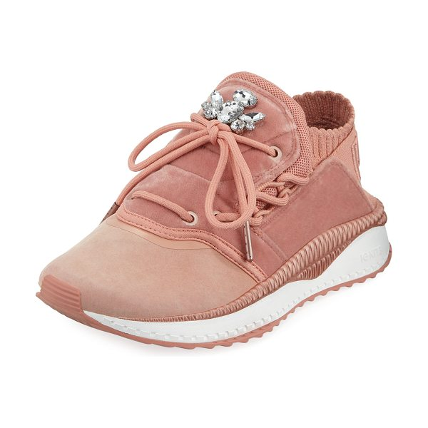 PUMA Tsugi Shinsei Velour Trainer Sneakers in cameo brown/pink - Puma velour trainer sneaker with knitted mesh and suede...
