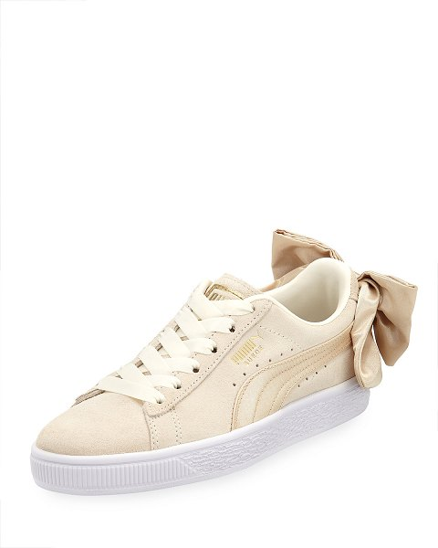700fbbf7a16 PUMA Varsity Suede Low-Top Sneakers with Bow Back in marshmellow gold - Puma  suede