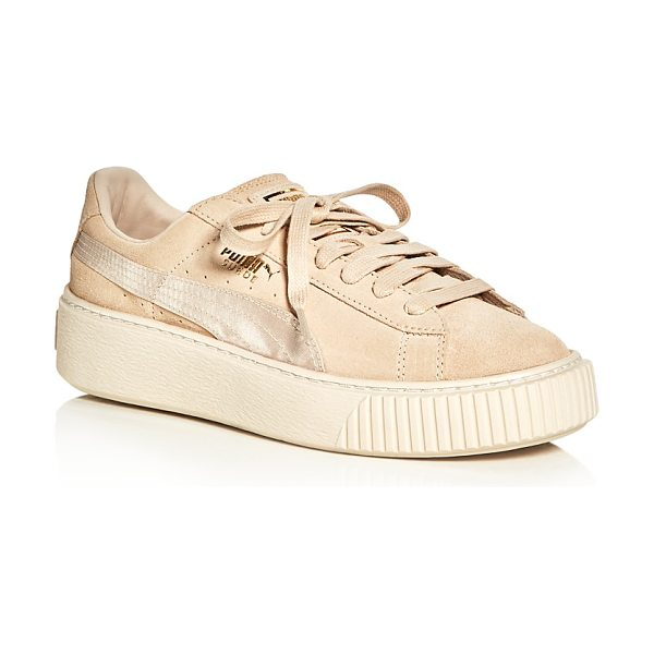PUMA Women's Satin Stripe Platform Lace Up Sneakers in pink tint/whisper white - Puma Women's Satin Stripe Platform Lace Up Sneakers-Shoes