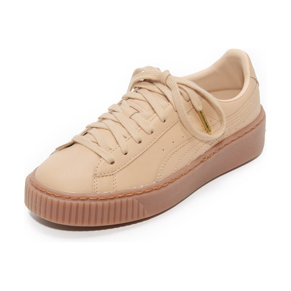 PUMA x naturel platform sneakers in natural - Matte leather PUMA x NATUREL sneakers with a tonal logo...