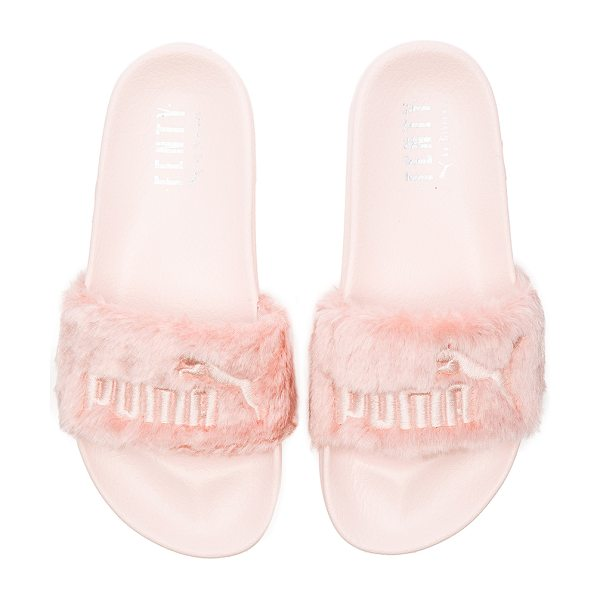 PUMA X rihanna leadcat fenty sandal in blush - Faux fur textile upper with rubber sole. Slip-on...