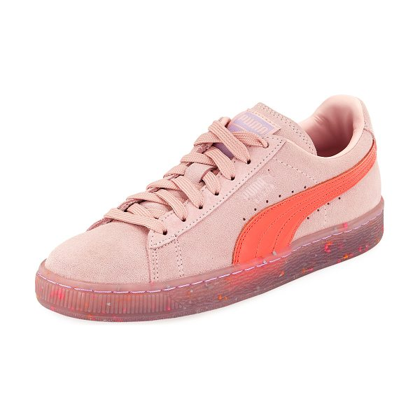 "PUMA x Sophia Webster Basket Suede Low-Top Sneaker in pink - Puma x Sophia Webster suede sneaker. 1"" flat platform..."