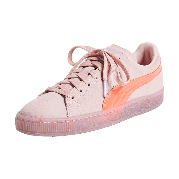 PUMA x sophia webster suede sneakers in pink/red/purple multi - Flecks of color float in the transparent platform of...