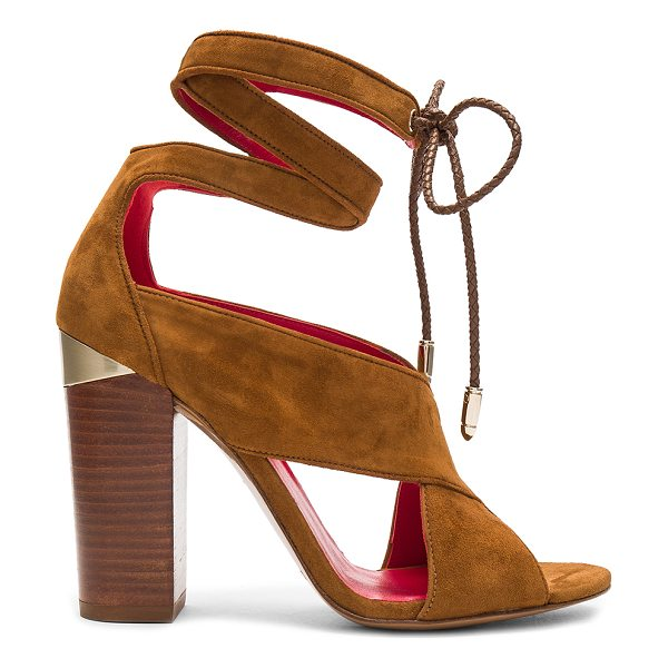 "Pura Lopez Ankle Wrap Heel in cognac - ""Suede upper with leather sole. Wrap ankle with braided..."