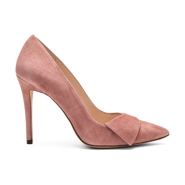 "Pura Lopez Baby Heel in rose - Suede upper with leather sole. Heel measures approx 4""""..."