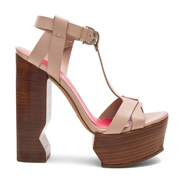 Pura Lopez Caged Platform Heel in taupe - Leather upper and sole. Ankle strap with buckle closure....