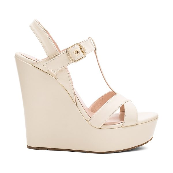 Pura Lopez High Wedge in calf cream - Leather upper with man made sole. Ankle strap with...