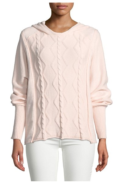 Pure & Co Forest Cable-Knit Pullover Sweater with Hood in peachside