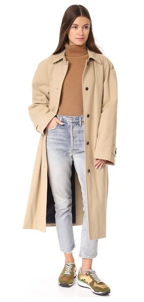 pushBUTTON reversible long colorblock coat in beige - A reversible pushBUTTON overcoat with a plain side and a...