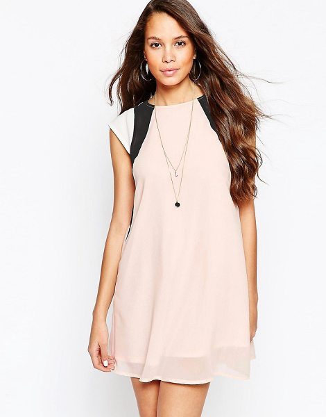 Pussycat London Color block swing dress in pink - Casual dress by Pussycat London Lightweight chiffon...