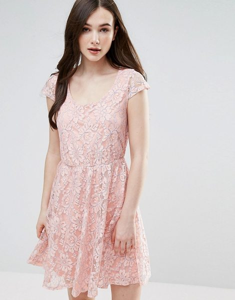 "Pussycat London Lace Skater Dress in pink - """"Evening dress by Pussycat London, Lined lace, Deep..."