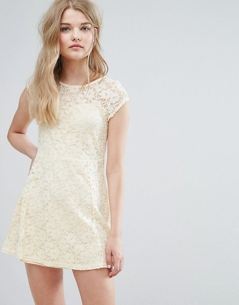 "Pussycat London Lace Skater Dress in cream - """"Casual dress by Pussycat London, Lined lace, Crew..."