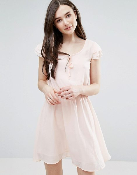 "Pussycat London Skater Dress With Tie Detail in pink - """"Dress by Pussycat London, Lined chiffon, Scoop neck,..."