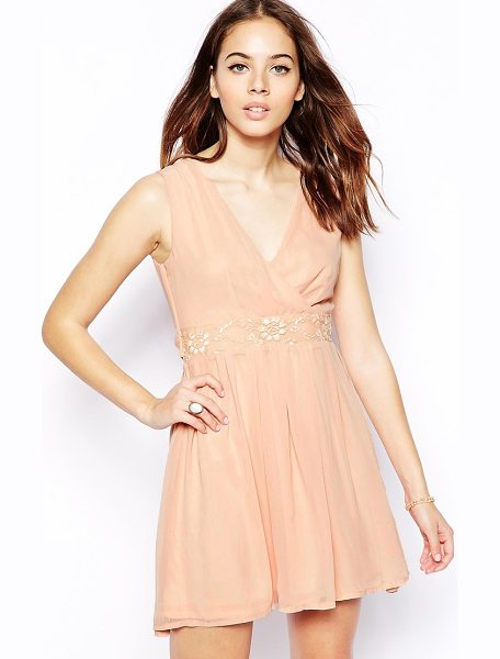 Pussycat London Wrap front skater dress in pink - Machine wash according to instructions on care label....