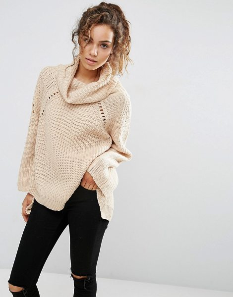 QED London Chunky knit high neck sweater in beige - Sweater by QED, Soft-touch chunky knit, Roll neckline,...